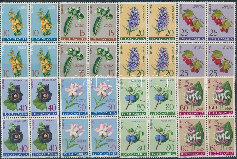 Flowers set without closing value in blocks of 4, Virág sor záróérték nélkül négyestömbökben