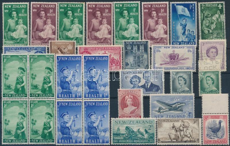 1950-1958 4 diff stamps, 6 sets, 2 blocks of 4, 1950-1958 4 klf bélyeg, 6 db sor és 2 db négyestömb