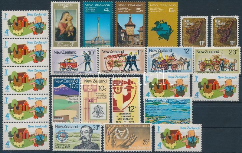 1973-1981 6 stamps + 4 diff sets + 1 stripe of 5, 1973-1981 6 db bélyeg + 4 klf sor + 1 db ötöscsík