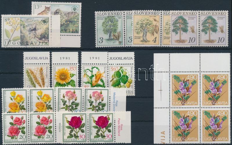 Flower 7 sets + 1 block of 4, Virág motívum 7 klf sor, ebből 5 párokban + 1 négyestömb