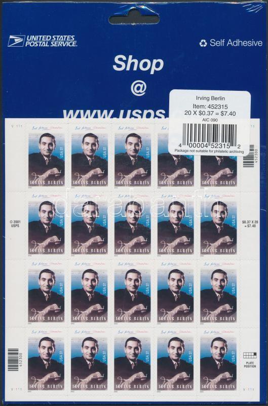 Irving Berlin zeneszerző öntapadós kisív bontatlan csomagolásban, Composer Irving Berlin self-adhesive minisheet