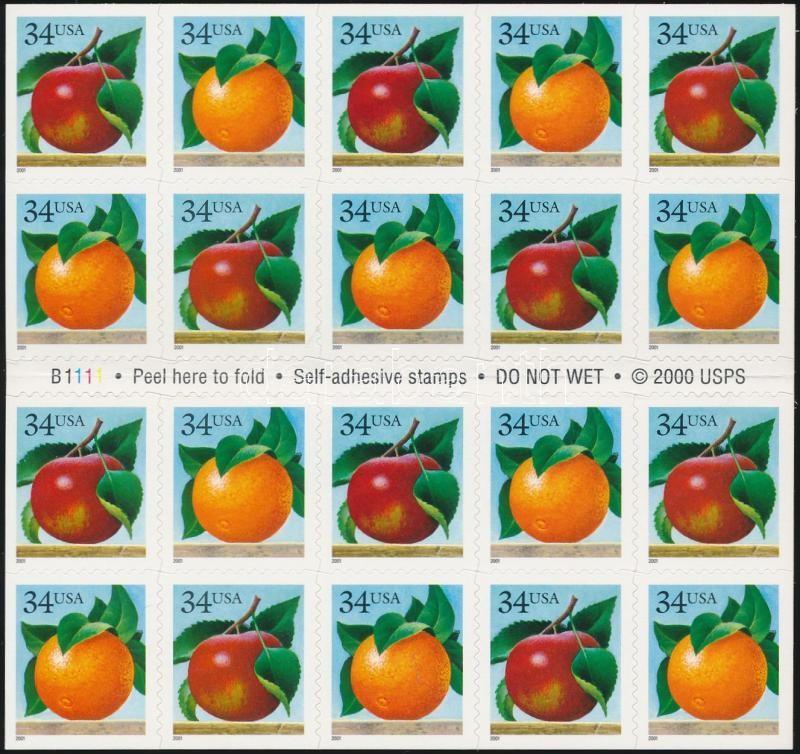 Fruits self-adhesive stamp booklet, Gyümölcsök öntapadós bélyegfüzet