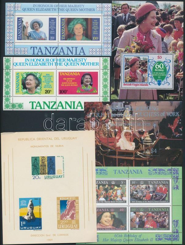Tanzánia, Tuvalu, Uruguay, Virgin-szigetek 1964-1986 16 db motívum blokk, Tanzania, Tuvalu, Uruguay, Virgin Islands 1964-1986 16 blocks