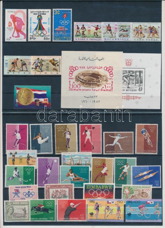 Olympics 32 stamps with sets + 2 blocks, Olimpia motívum tétel 32 db bélyeg közte teljes sorokkal + 2 blokk 2 stecklapon