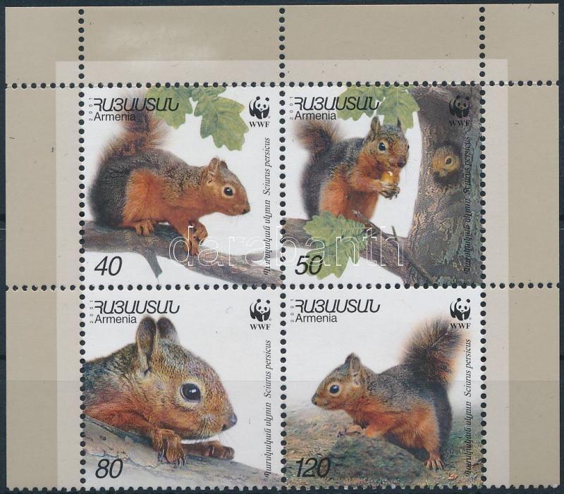 WWF: Caucasian squirrel corner block of 4, WWF: Kaukázusi mókus ívsarki négyestömb