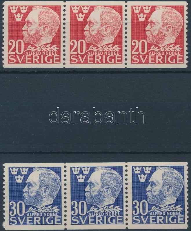 Death of  Alfred Nobel 2 stripes of 3, Alfred Nobel halála sor 2 értéke hármascsíkban