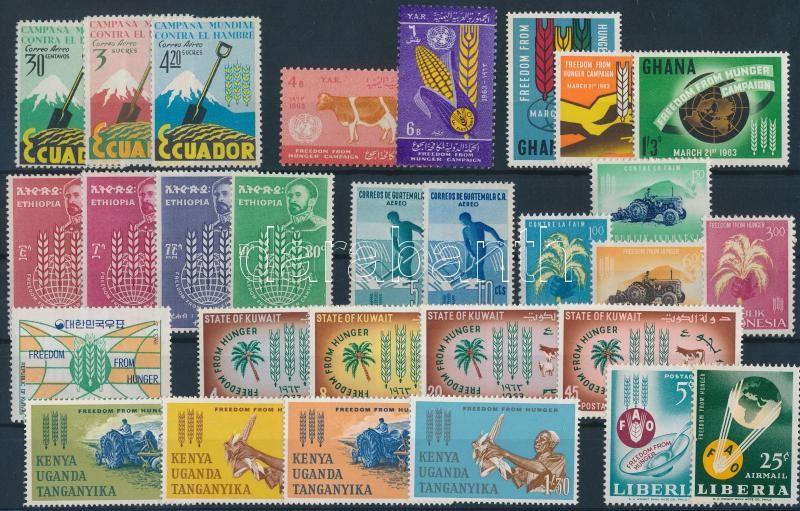 Küzdelem az éhezés ellen kampány 10 klf ország közös kiadása 29 klf bélyeg, Fighting hunger campaign 10 diff countries 29 diff stamps