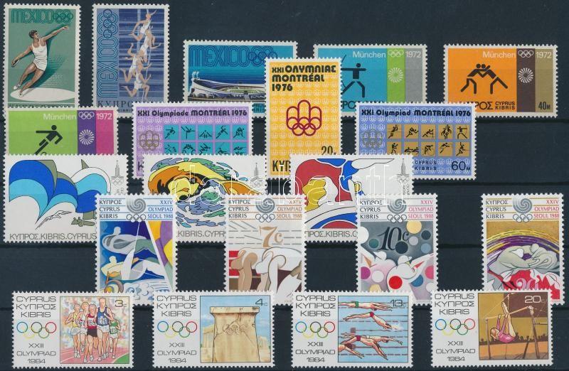 Ciprus, Gibraltár Sport motívum 1967-1988 7 klf sor + 2 db blokk (2 db stecklapon), Cyprus, Gibraltar Sport 1967-1988 7 diff sets + 2 blocks