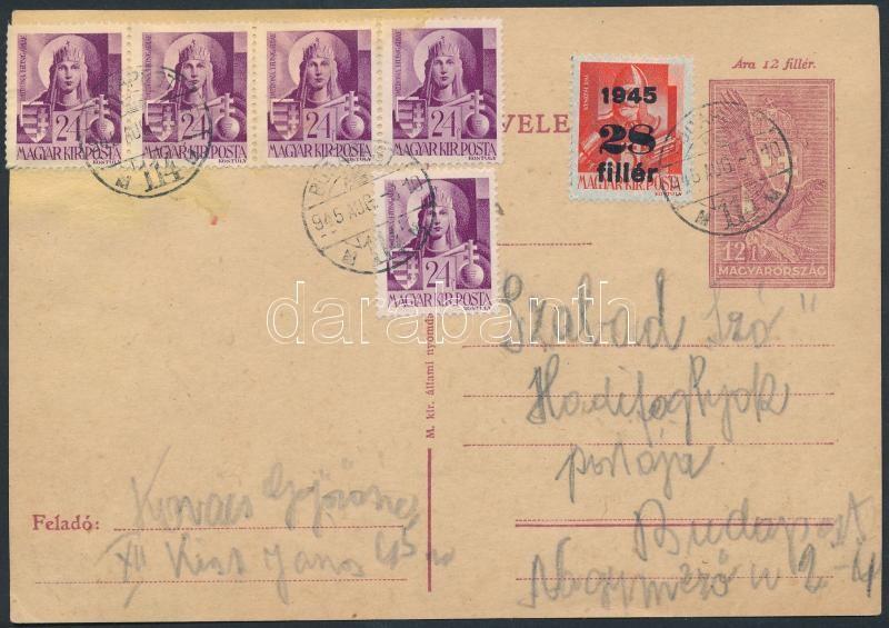 Inflation cover, (2. díjszabás) 12f-es díjjegyes helyi levelezőlap Hadvezérek 5x24f + Kisegítő 28f díjkiegészítéssel