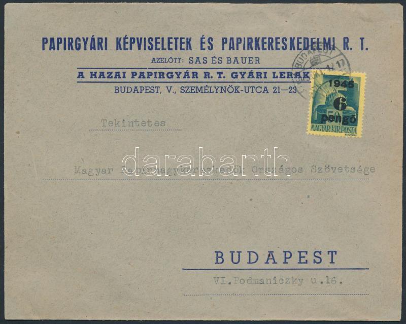 Inflation cover, (3. díjszabás) Helyi céges levél Kisegítő 6P/50f bérmentesítéssel