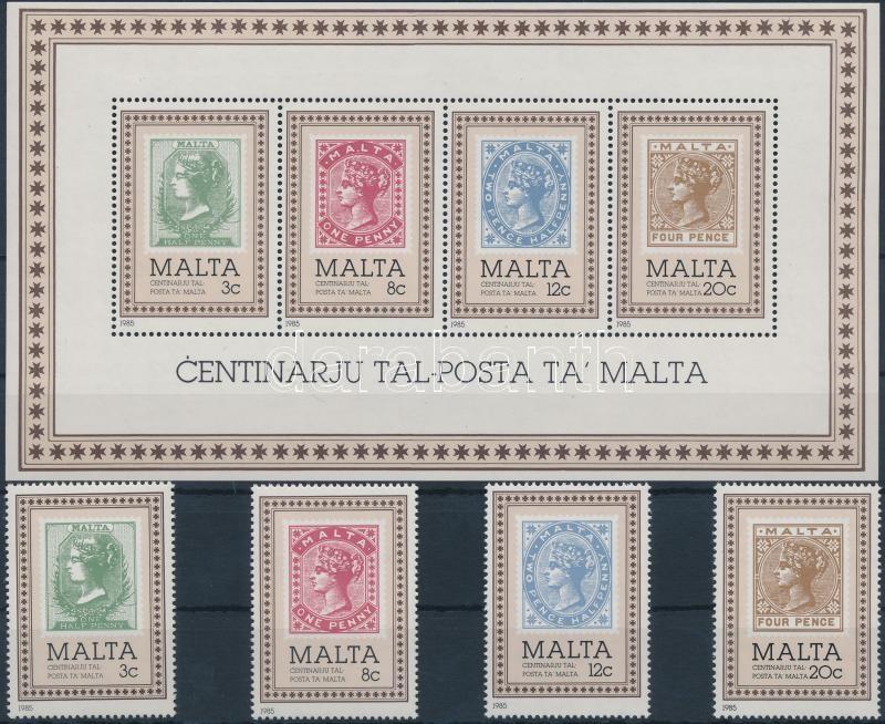 Centenary of Malta Post set + block, 100 éves a máltai posta sor + blokk