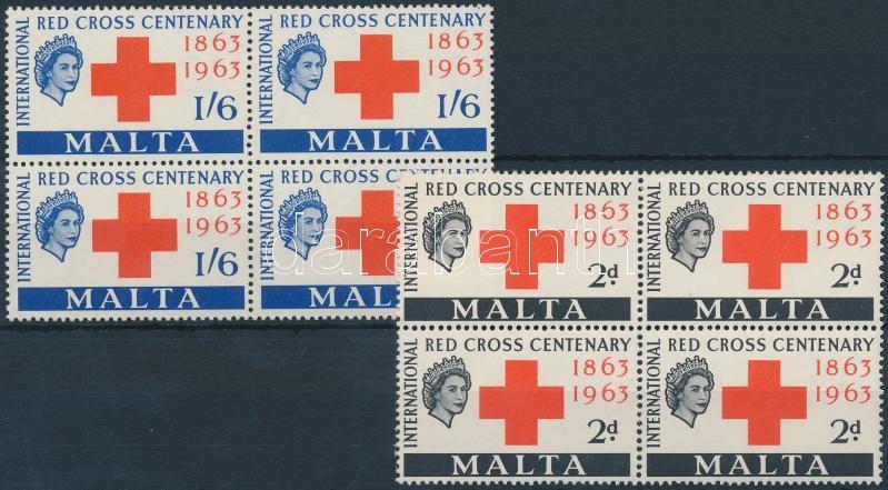 Centenary of Red Cross set blocks of 4, 100 éves a vöröskereszt sor négyestömbökben