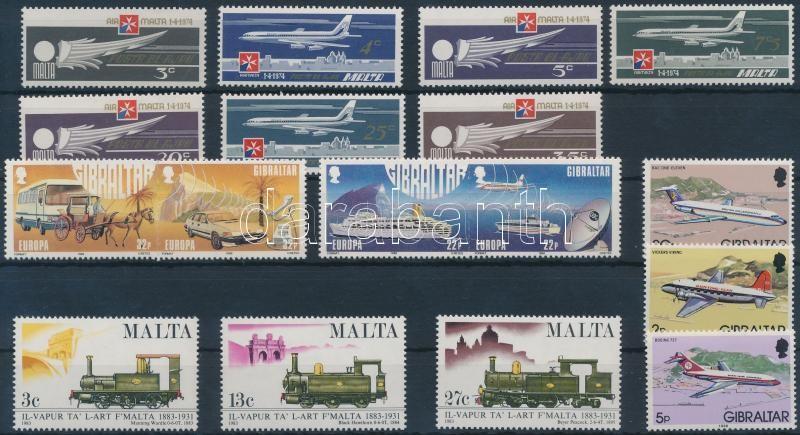 Gibraltar, Malta Vehicles 3 diff stamps + 2 stamp pairs + 2 diff sets, Gibraltár, Málta Járművek motívum 3 klf bélyeg + 2 db bélyegpár + 2 klf sor