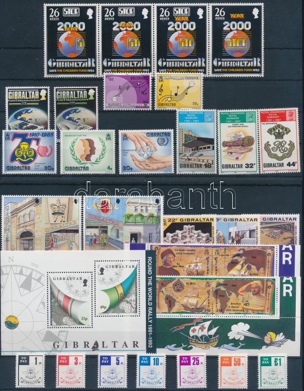 1985-1990 8 set + 1 block of 4 + 1 block, 1985-1990 8 klf sor + 1 db négyescsík + 1 db blokk (2 db stecklapon)
