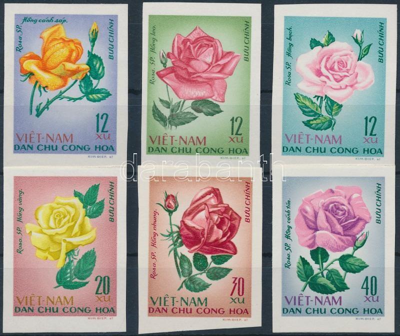 Roses imperforated set, Rózsák vágott sor
