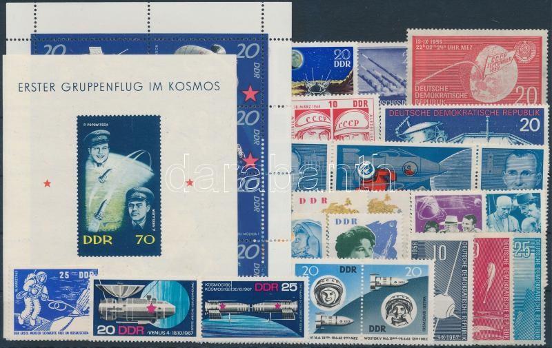 1944-1971 Space Research 22 stamps + 1 mini sheet + 1 block, 1944-1971 Űrkutatás motívum 22 klf bélyeg, közte teljes sorok + 1 kisív + 1 blokk