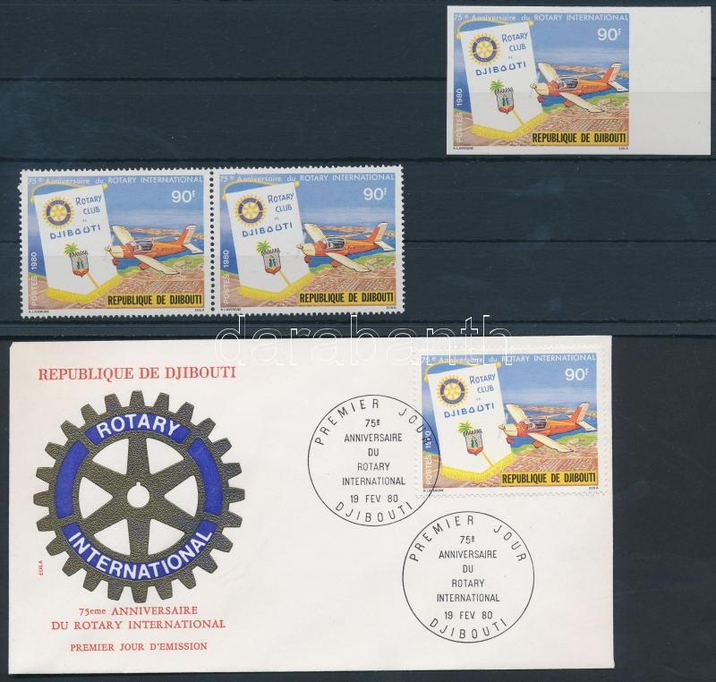 Rotary, sports stamps flying in pairs + 1 imperforated stamp  + FDC, Rotary, sportrepülő bélyeg párban + 1 db vágott bélyeg + FDC