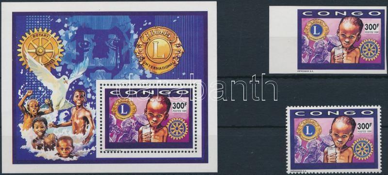 Rotary events and persons 2 stamps + block + FDC, Rotary, események és személyek 2 db bélyeg + blokk + FDC