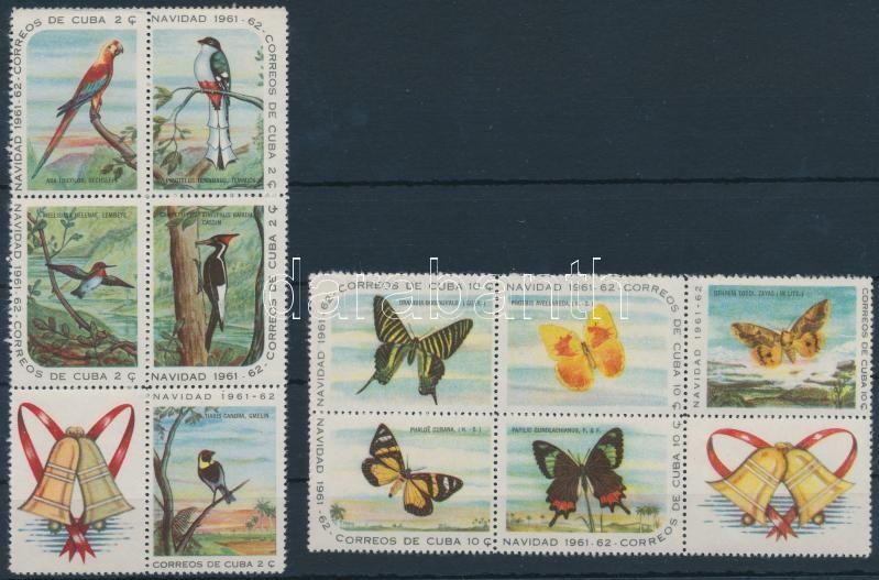 Christmas, birds and butterflies closing values blocks of 6, Karácsony, madarak és lepkék záróértékek szelvényes 6-os tömbökben