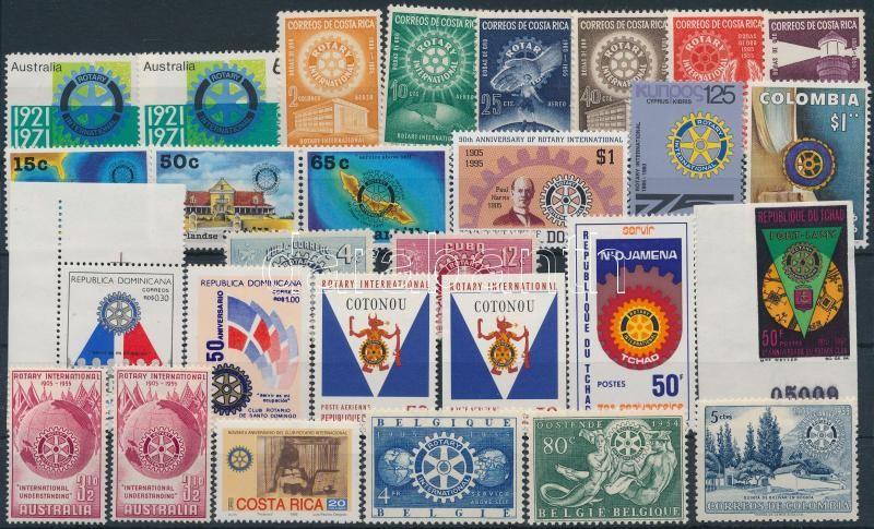 Rotary 28 stamps + 8 FDC, Rotary motívum 28 db bélyeg + 8 db FDC