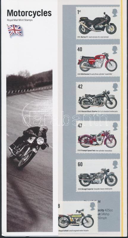 Motorcycles set in decorative holder, Motorkerékpárok sor díszcsomagoásban