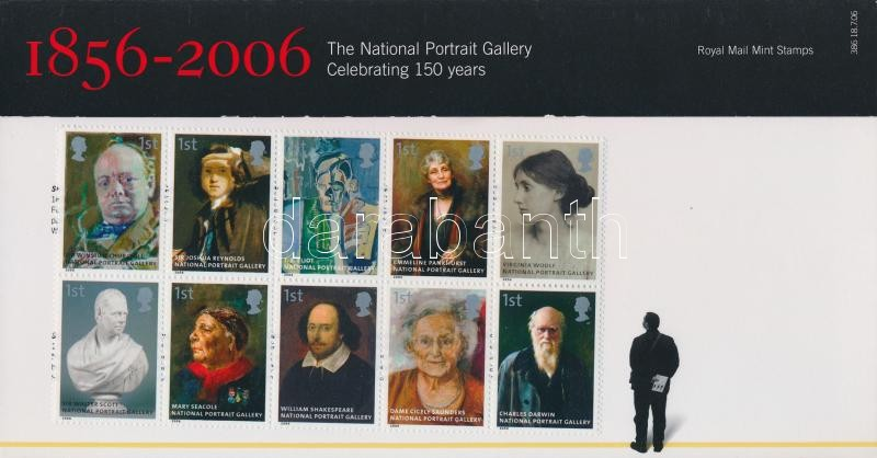 Nemzeti Portré Galéria tízestömb díszcsomagolásban, National Portrait Gallery block of 10 in decorative packaging