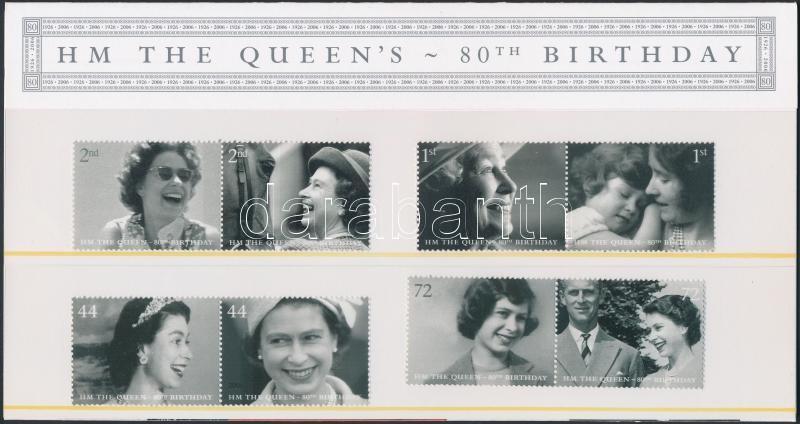 Elizabeth II. 80th birthday 4 pairs in decorative packaging, II. Erzsébet 80. születésnapja 4 pár díszcsomagolásban