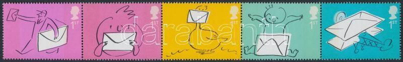 Greeting stamps: Envelope stripe of 5, Üdvözlő bélyegek: boríték ötöscsík