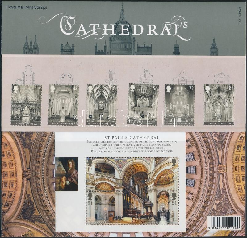 Cathedrals set + block in decorative holder, Katedrálisok sor + blokk díszcsomagolásban