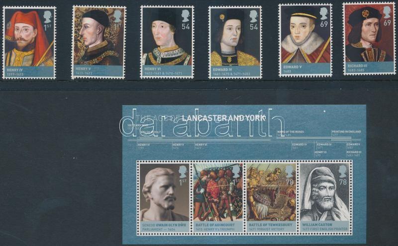 Brit uralkodók sor + blokk, British monarchs set + block