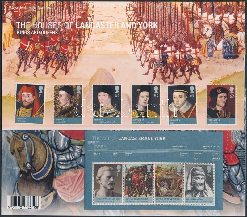 British monarchs set + block in decorative holder, Brit uralkodók sor + blokk díszcsomagolásban