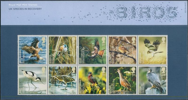Birds block of 10 in holder Madarak tizestömb díszcsomagolásban