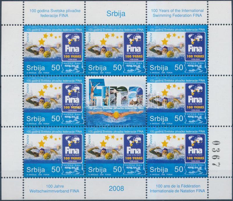 10th anniversary of the International Swimming Federation mini sheet, 10 éves a Nemzetközi Úszószövetség kisív