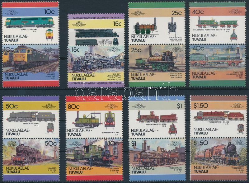 Locomotives (IV) set 7 pairs + 2 stamp, Mozdony (IV) sor 7 párban + 2 bélyeg