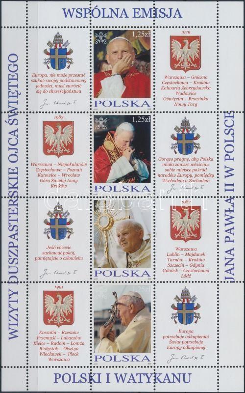 Pope John Paul II. mini sheet set, II. János Pál pápa kisívsor