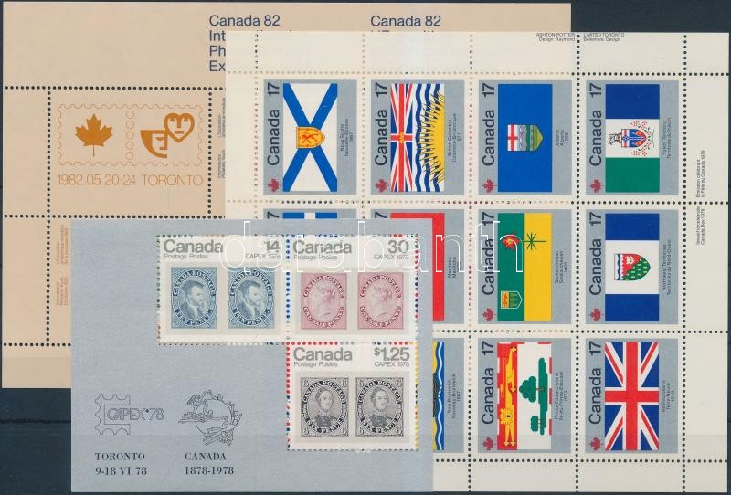 1978-1982 2 blocks and 1 mini sheet, 1978-1982 2 db blokk és 1 db kisív