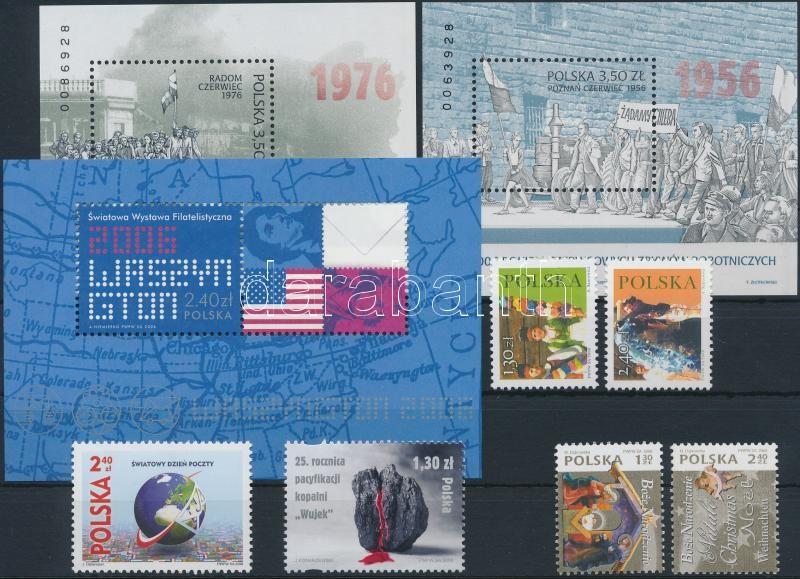 6 stamps + 3 blocks, 6 db bélyeg közte sorokkal + 3 db blokk