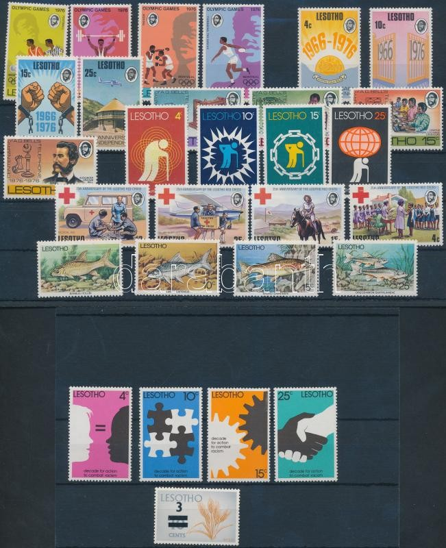 1976-1977 7 sets and 1 block, 1976-1977 7 klf sor + 1 bélyeg