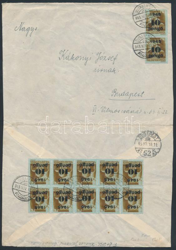 Inflation cover, (5. díjszabás) Távolsági levél 12x Kisegítő 10P/80f bérmentesítéssel (szétnyitott boríték)