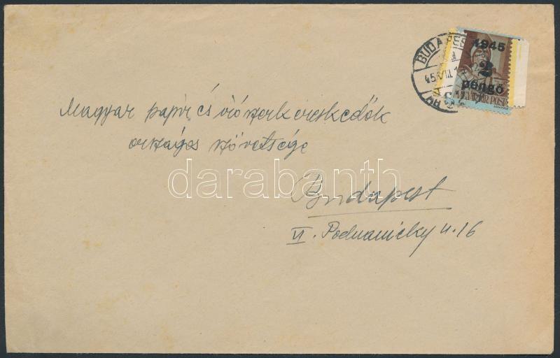 (2. díjszabás) Helyi levél Kisegítő 2P/4f bérmentesítéssel, leáztatott bélyeg újbóli felhasználásával, különleges rögzítéssel, Inflation cover