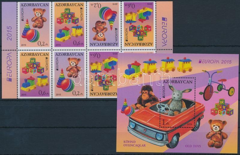 Europa CEPT, old toys stamp booklet sheet + block, Europa CEPT, régi játékok bélyegfüzetlap + blokk