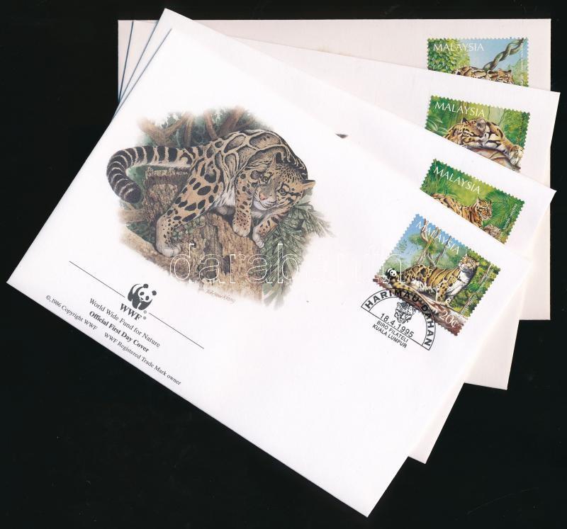 WWF Clouded leopard set 4 FDC, WWF: Ködfoltos párduc sor 4 db FDC-n