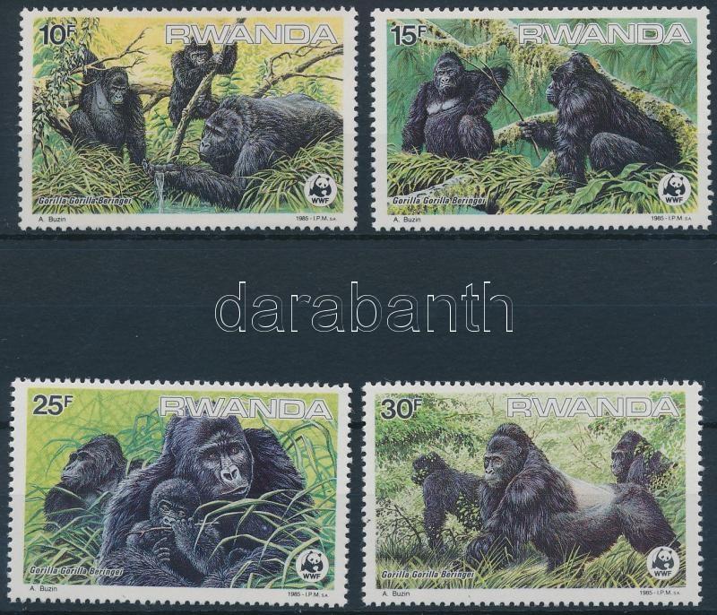 WWF Mountain gorillas set + 4 FDC, WWF: Hegyi gorillák sor + 4 db FDC