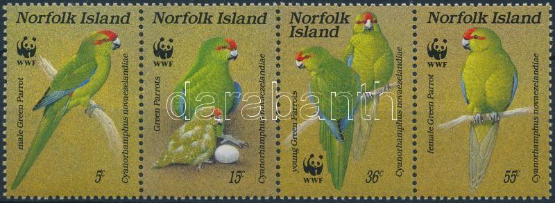 WWF Parrots stripe of 4 + 4 FDC, WWF: Papagájok négyescsík + 4 db FDC