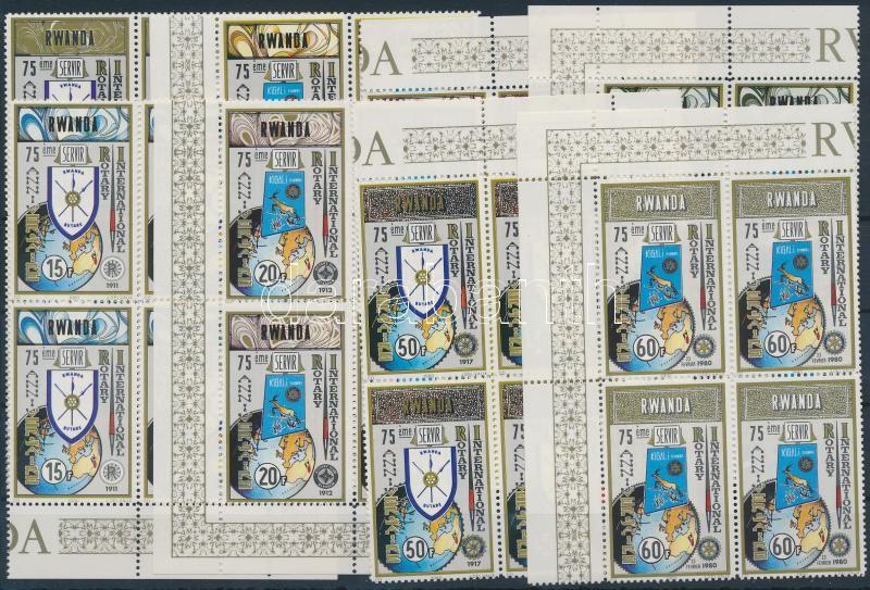Rotary set corner blocks of 4, Rotary sor ívsarki 4-es tömbökben