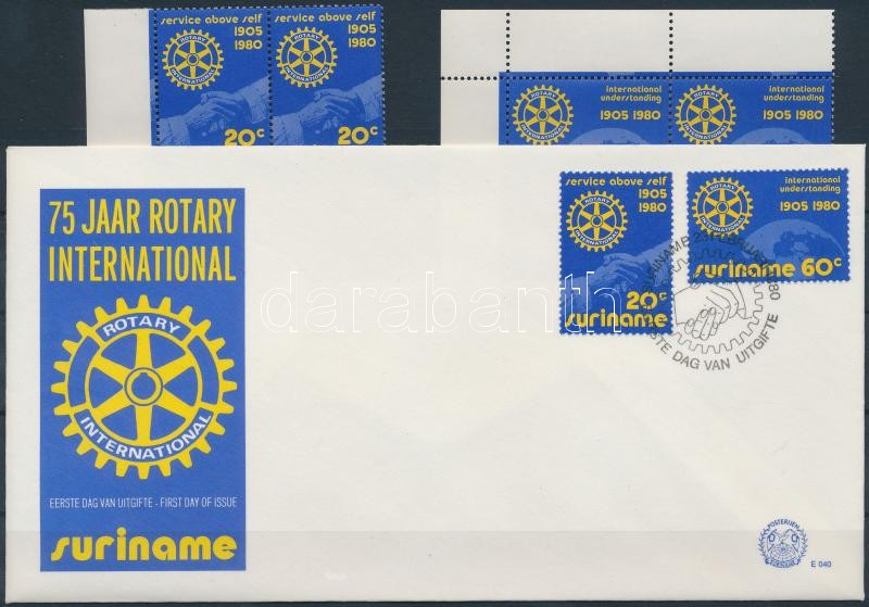 Rotary set corner blocks of 4 + FDC, Rotary sor ívsarki 4-es tömbökben + FDC