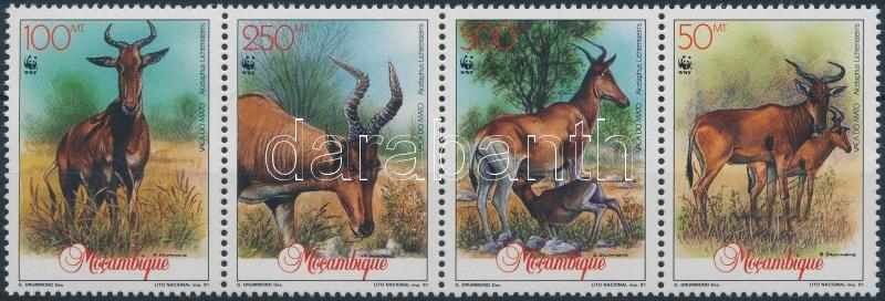 WWF Antelope stripe of 4 + 4 FDC (gum disturbance), WWF: Antilopok négyescsík + 4 db FDC (gumihiba)