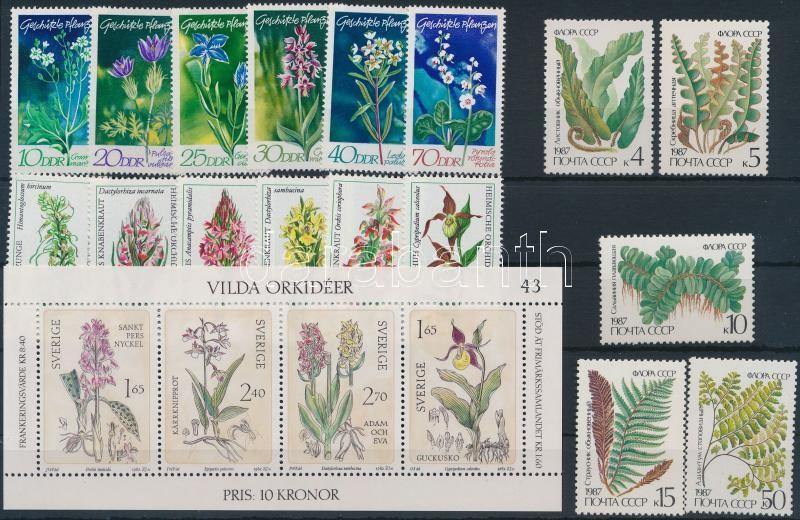 Plants 43 stamps + 1 block, Növény motívum 43 klf európai bélyeg + 1 blokk 2 stecklapon