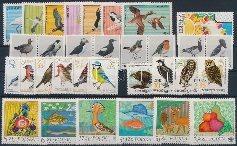 Madár, állat motívum 32 klf európai bélyeg, Bird, animals 32 stamps