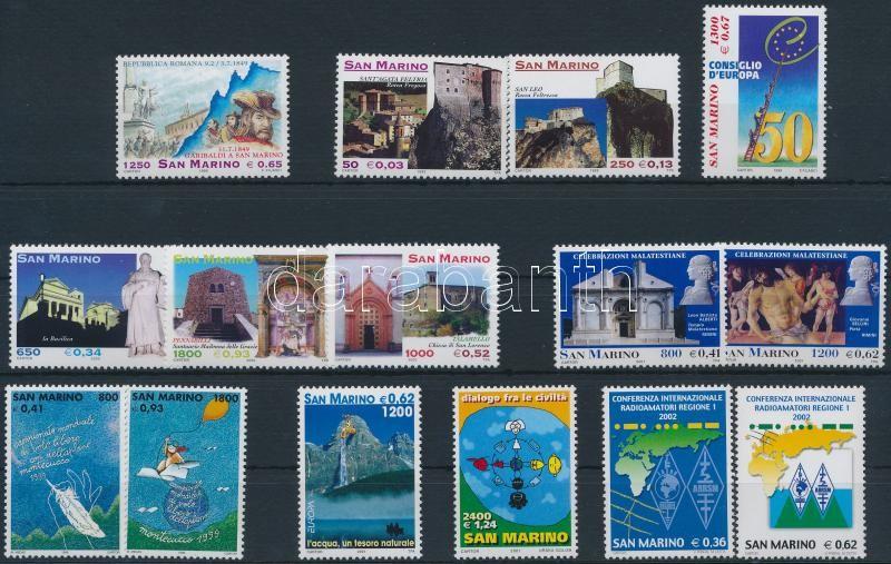 1999-2002 15 diff stamps, 1999-2002 15 klf bélyeg